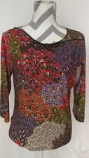 acorn multicolored paisley top 3/4 sleeves zippered bateau neck size M
