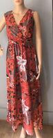 Debenhams Womens Sleeveless Floral Maxi Dress Uk Size 10 Red Black BNWOT