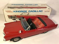 Vintage Battery Operated 1967 Kingsize Cadillac Convertible Toy Car W Box Iwaya