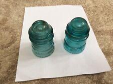 VINTAGE LOT OF 2 HEMINGRAY NO 12 TELEPHONE GLASS POLE INSULATORS AQUA BLUE