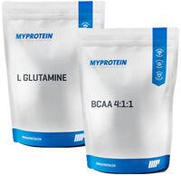 MyProtein DOUBLE SPECIAL je 1kg BCAA 4:1:1 + L GLUTAMIN Pulver My Protein BCAAs