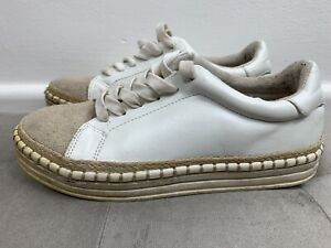 River Island White Canvas Lace Up Trainers Flatform Shoes, Size 3