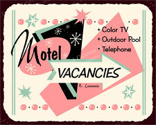 (VMA-L-6585) Motel Vacancies Vintage Metal Hospitality Motel Retro Tin Sign