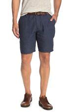 Toscano Men's Houndstooth Linen Shorts Moonlight Navy Blue
