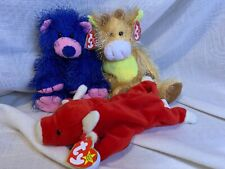 Beanie Babies~lot of 3~Ty Punkies ZAPP & T-Bone~Classic Snort The Bull~NWT