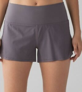 "LULULEMON Smooth Stride Short *3.5"" Size 6 Magnum Purple Grey Speed Up High Rise"