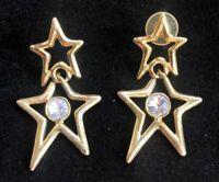 Vintage Gold Tone & Rhinestone Dangling Stars Earrings