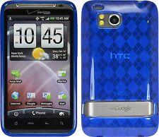 Flexible TPU Gel Case for HTC Thunderbolt - Blue Argyle