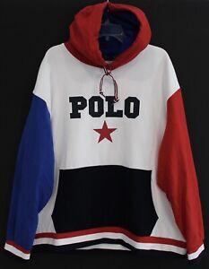 Polo Ralph Lauren Big & Tall Mens Red Blue POLO Star Hoodie Sweat Jacket NWT XLT