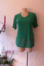 MAGNA Tunika Shirt 40 42 grün mit Spitzenbesatz Stretch LAGENLOOK