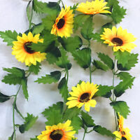 260cm Artificial Silk Sunflower Leaves Flowers Ivy Vine Garland Party Home Decor
