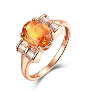 Solid 14Kt Rose Gold 1.89ct Sapphire & Diamond Vintage Engagement Wedding Ring
