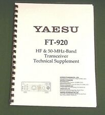 Yaesu FT-920 Service Manual -  Premium Card Stock Covers & 32 LB Paper!