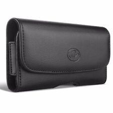 BLACK LEATHER PHONE CASE SIDE COVER POUCH BELT HOLSTER CLIP D071 For SMARTPHONES