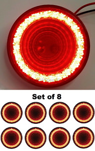 "(Set/8) 4"" Round LED MIRAGE Stop, Turn & Tail Lights - Red LED/Red Lens - S/T/T"