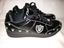 Oakland Raiders Shoes - NFL Reebok Black Patient Leather Mens Size 9 Sneakers