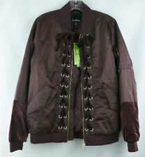 Sam Edelman Bomber Jacket Womens Size Medium Zip Up Front Lace Detail Burgundy