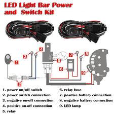 2x UNIVERSAL LED LIGHT BAR WIRING LOOM HARNESS KIT FOG FUSE RELAY SWITCH 12V 40A