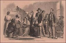 ALABAMA CITIZENS Receive RATIONS after Civil War, antique engraving 1866