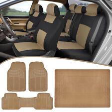 Universal Car Seat Covers + Heavy Duty Rubber Floor Mats + Cargo Liner - Tan