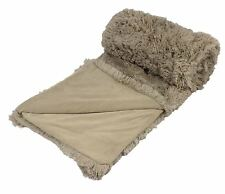 SUPERSOFT FLUFFY BEIGE COFFEE THICK LARGE 150X200CM THROW BLANKET