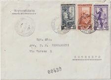 ITALIA 1951 5L+25L+50L LAVORO SU RACCOMANDATA DA ROMA PER GROSSETO
