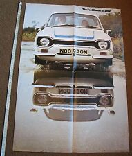 ORIGINAL FORD ESCORT RS 2000  MK 1 BROCHURE DEALER 1970s  POSTER AVO SVE MEXICO