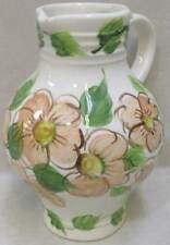 """Pitcher Pottery Hand Crafted Floral Flower Blossoms w/ Leaves Glazed 8"""" Tall"""