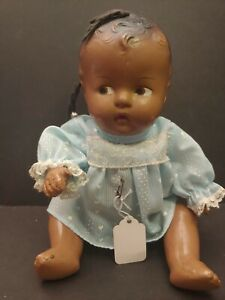 """1930s Composition Dark Skinned Doll  Topsy Baby Doll Vintage Doll  10"""""""