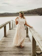 Anthropologie Boho Ivory Lace Wedding Dress Gown Vintage Style M Photography USA