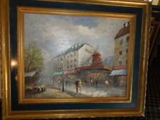 Moulin Rouge Oil Painting by Burnett in Classical Gold Leaf Frame