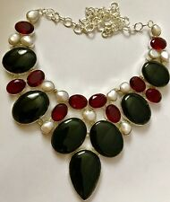 Magnificent Black Onyx & Garnet & Pearl .925 Silver Statement Necklace 135 Gms