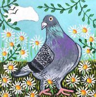 Original Painting Pigeon In Daisies, Folk/naive Art, Bird
