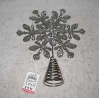 "Christmas Decoration Silver Snowflake Tree Topper 10"""