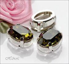 3 Swarovski Vintage 14x10mm Dark Olive Khaki Oval Sew On Crystals 4120 jewellery