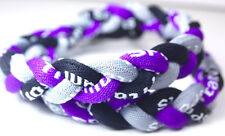 "NEW 20"" Twist Titanium Sport Necklace Purple Black Grey Gray Tornado Baseball"