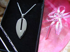 REAL DIAMOND PENDANT NECKLACE SOLID STERLING SILVER 925 LEAF MODERN