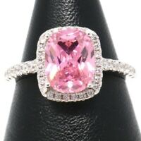 Vintage Antique Solitaire Pink Sapphire Halo Ring Jewelry 14K White Gold Plated