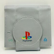 Playstation Classic Retro Bi-Fold Wallet Hook N Loop Closure and Zipper Grey Col