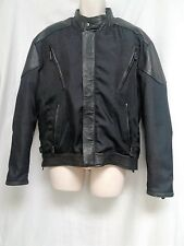 "BARNEY'S LEATHER Black Leather Trimmed Motorcycle Biker Jacket Size 42 ""EUC"""