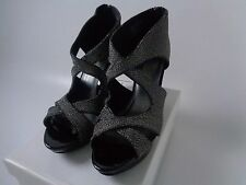 Christian Siriano size UK 7.5 black and gold wedged sandals NEW!!!