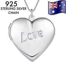 Stunning 925 Sterling Silver Classic Love Heart Pendant Charm Locket Necklace