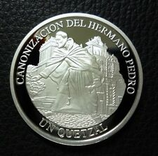GUATEMALA SILVER COIN 1 Quetzal, KM287 Proof  2002 - Brother Pedro Canonization