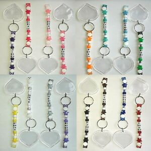 Beaded Keyrings, Personalised with any name, Blank plastic heart keyring