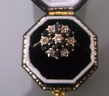 Women's Vintage 9ct Gold Quality Sapphire & Diamond Ring Size I 1/2 Weight 1.9g
