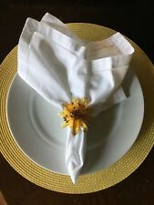 Beaded Napkins Rings, Kim Seybert Set of 20 Spring Fall Italian White Sunflower