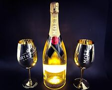 Moet chandon Impérial LED Golden Light Up champán 1,5l + 2 Gold vidrio 12% vol