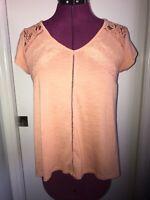 Skylar + Jade Size MEDIUM Dark Peach Lace Cap Sleeve Knit Top Shirt Blouse EUC