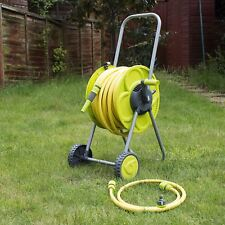 SET OF 50M HOSE & REEL TROLEY GARDEN WATERING PIPE CART STANDING WINDER TUBE