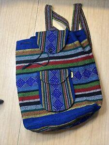 Pinzon Mexican Blanket Royal Blue and Rainbow Woven Backpack Mochila Serape Bag